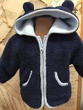 TEDDY BEAR EARS HOOD Marshmallow Jacket 3-6 month Baby Gap NAVY BLUE COZY WARM
