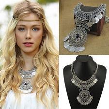 N Lady Boho Gypsy Coin Pendant Chain Ethnic Dance Bib Statement Choker Necklace