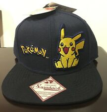 Pokemon Pikachu Seated Navy Snapback Hat New with Tags