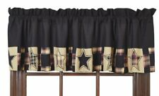"REVERE Country Primitive Rustic Stars Black Tan Valance 16""x72"" Window Treatment"