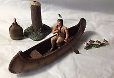 SCHLEICH #42013 Canoe with Native American Figure Papo w/ 3 Accessories VGC