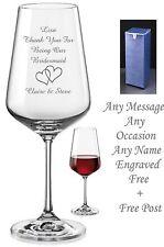 Personalised Engraved Crystal Wine Glass Bridesmaid Wedding, Birthday Mum Gifts