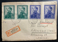 1951 Sitzendorf East Germany DDR Cover to Kollerbach Mao Tse Tung Stamps #82& 84