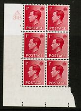 Gb Keviii Sg458 1d Scarlet Block of 6 Mounted Mint Control A36 Cylinder 6 no dot
