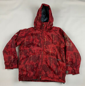 686 Mannual Ski Snowboard Jacket Youth Boys M Hooded Red Knights Insulated