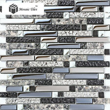 Black Silver Gray Interlocking Glass Tile Artistic Mosaic Unique Design Ideas