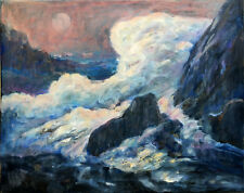 Big Sur California Ocean Surf 16x20 in. .Original oil on canvas Hall Groat Sr.