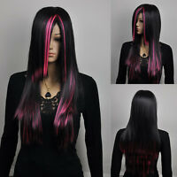 Womens Long Straight Black Pink Mix Multicolor Fancy-Dress Cosplay Full Hair Wig