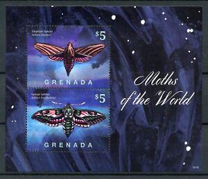 Grenada 2014 MNH Moths of World Elephant Sphinx Moth 2v S/S I Butterflies Stamps