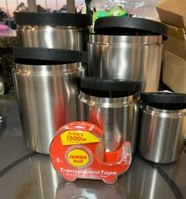 New NO Box~OXO RARE STAINLESS STEEL CANISTER SET