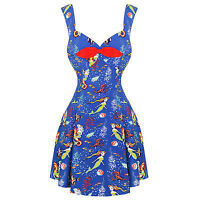 Womens Ladies New Blue Mermaid Pinup Retro Vintage Mini 1950s Sun Dress