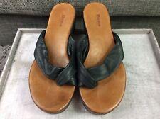 Dune London Black Leather Womens Toe Post Sandals Uk 5 Eu 38 Vgc S4
