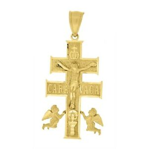 10KT Yellow & Rose Gold Caravaca Jesus Cross Crucifix Religious Charm Pendant
