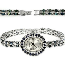 Sterling Silver 925 Genuine Natural Marquise Blue Sapphire Watch 7 Inches