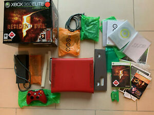 XBOX 360 Elite Resident Evil 5 Limited Edition Red/Rot Konsole - OVP/CIB - TOOP