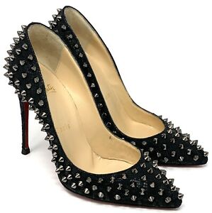 Auth Christian Louboutin Embossed Leather Studs Heels #36.5 US 6 Black Rank AB+