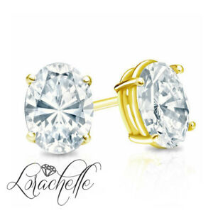2.0 ct Brilliant Oval Cut Screw Back Earring Studs Real Solid 14K Yellow Gold