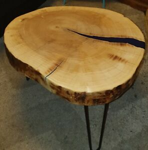 Rustic chunky.resin. live edge. handmade coffee table