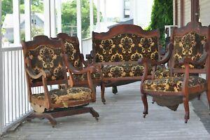 Antique Parlor Set - Settee Loveseat, platform rocker, + 3 arm chairs
