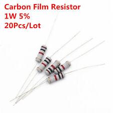 20Pcs 1W 1 Watt Carbon Film Resistor ±5% 1K -910K Ω Ohm 1 KΩ - 910 KΩ