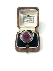 Superb Large Vintage Sterling Silver 925 Ruby & White Topaz Ring Size R 6g #047