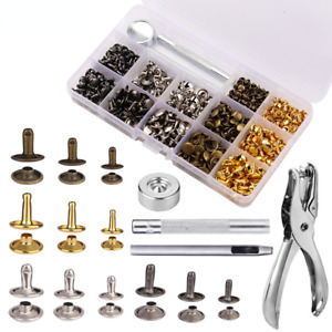 480Set Leather Snap Fasteners Kit Metal Buttons Press Studs Rivet with Box Tools