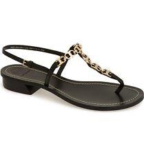 New $275 Tory Burch Gemini Black Nappa Leather Link T-Strap Sandal 7