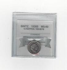 **1936B** Switzerland, 10 Rappen, Coin Mart Graded**MS-60** KM #27B