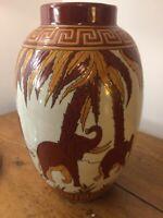 🦋Vase Important En Céramique Craquelé Style Art Déco DLG (catteau Chevalier)
