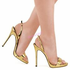 Chic Womens Open Toe Ankle Strap Super High Stiletto Heel Mary Jane Sandals Shoe