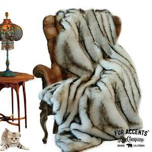 Plush Faux Fur Bedspread, Throw Blanket, Comforter, Black Tip, Minky Lining USA