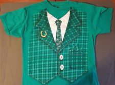 Irish St. Patrick's Day Leprechaun Suit Tuxedo T Shirt Medium Green Checkered