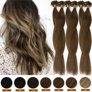 """BROWN THICK Pre Bonded U Nail Tip Human Remy Hair Extensions Keratin 1G/S 20 22"""""""