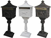 Mail Box Heavy Duty Mailbox Postal Box Security Cast Aluminum Vertical Pedestal