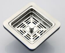 SQUARE  KITCHEN SINK BASKET STRAINER WASTE- SUS304 BRUSH FINISH