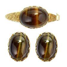 Vintage Tiger's Eye Tie Clip Bar & Cufflink Set Gold Plated
