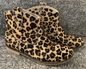 Mini Boden Girls Leopard Print Winter Boots Shoes - Size 33 - UK Junior 1