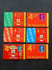 6 GB Royal Mail Booklets with 4 Stamps-First Class, 2nd Class, Worldwide Airmail