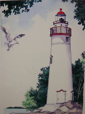 Hand Colored Drawing Lighthouse Marblehead Ohio By Ron Alabise Numbered