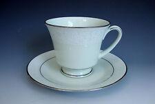 Noritake Japan 8221 W80 Tea Cup/Saucer *Promise Me* Pale Green/White/Silvery