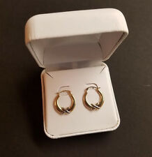 10K Two-Tone Polished Med with Ribbon Hoop Ladies Womens Earrings Gift Box