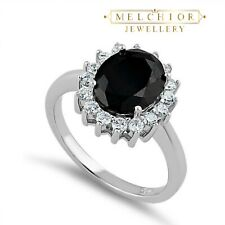 925 Sterling Silver Black Sapphire CZ Ring Jewellery Gift 2.5ct