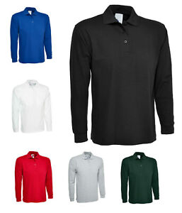 Mens Long Sleeve Pique Polo T Shirt Size M to XL - WORK CASUAL SPORTS LEISURE