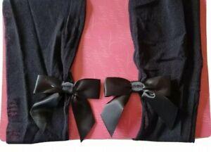Victoria's Secret Sexy Little Things Black Sz B Satin Bow Stocking Pretty Pin-Up