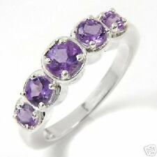 Purple Amethyst 5 Stone Band Ring -Size 7-**Compare: $99.00