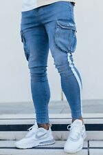 Designer Mens Super Stretch Skinny Jeans Northern Garms CARGO MADDOX BLUE £35.