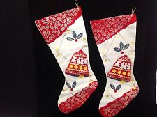 Vintage Felt Christmas Stocking with 3D Bell Applique Lot of 2