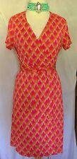 Diane Von Furstenberg DVF Vtg Silk Pink/Orange Wrap Sun Dress Sz 4