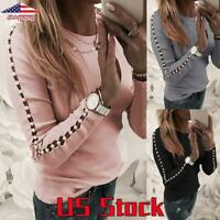 Women Casual Blouse Tops Ladies Hollow Pearl Slim Fit Long Sleeve Shirt Pullover