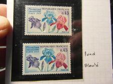 TIMBRE FRANCE YT1597 FLORALIES PARIS 1969 VARIANTE FONDS BLEU forte cote stamps